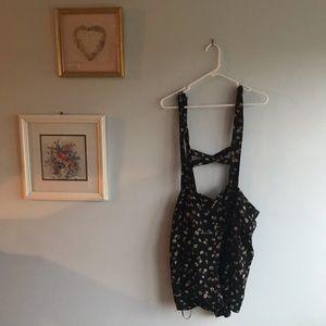 Forever 21 Plus Black Floral Suspender Romper 2X